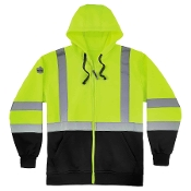 8372 Class 3 Zip-Up Hi-Vis Hooded Sweatshirt - Black Front