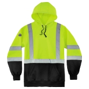 8393 Class 3 Pullover Hi-Vis Hooded Sweatshirt - Black Front